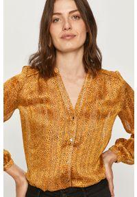 Żółta koszula Morgan ze stójką, z długim rękawem, długa, casualowa