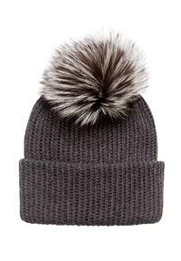 Szara czapka William Sharp na zimę, z aplikacjami, elegancka