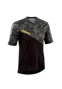 ROCKRIDER - Koszulka krótki rękaw na rower MTB All Mountain. Kolor: czarny. Materiał: poliester, elastan, materiał. Długość rękawa: krótki rękaw. Długość: krótkie. Sport: kolarstwo
