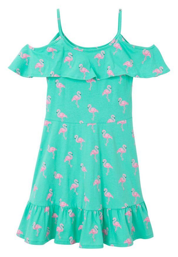 Zielona sukienka bonprix na ramiączkach, z nadrukiem