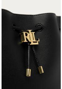 Czarna torebka Lauren Ralph Lauren gładkie, mała, na ramię