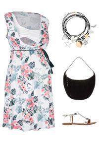Biała sukienka bonprix moda ciążowa, w kwiaty