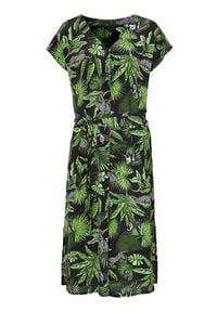 Cellbes Wzorzysta sukienka z krepy we wzory female ze wzorem 38/40. Typ kołnierza: dekolt w serek. Materiał: tkanina. Długość rękawa: krótki rękaw. Typ sukienki: proste. Styl: elegancki