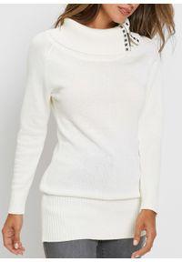Długi sweter bonprix biel wełny. Typ kołnierza: golf. Kolor: biały. Materiał: wełna. Długość: długie