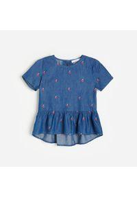 Reserved - Bluzka w wisienki - Niebieski. Kolor: niebieski