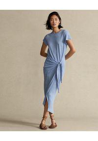 Ralph Lauren - RALPH LAUREN - Lniana sukienka w kolorze niebieskim midi Straight fit. Typ kołnierza: polo. Kolor: niebieski. Materiał: len. Wzór: aplikacja. Długość: midi