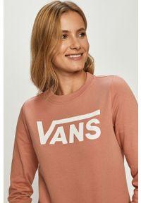 Różowa bluza Vans bez kaptura, z nadrukiem, z długim rękawem, casualowa