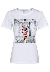 "Shirt oversize ""Myszka Miki"" bonprix biały. Kolor: biały"