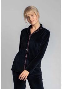 MOE - Welurowa Koszula od Piżamy - Granatowa. Kolor: niebieski. Materiał: welur