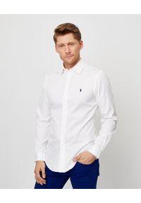 Ralph Lauren - RALPH LAUREN - Biała koszula Featherweight Slim Fit. Typ kołnierza: polo. Kolor: biały. Materiał: bawełna. Wzór: haft. Styl: klasyczny, elegancki