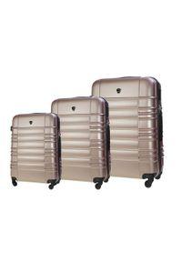 Solier - Zestaw walizek podróżnych STL838 rose gold. Materiał: materiał