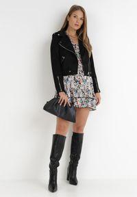 Born2be - Czarna Sukienka Illuse. Kolor: czarny. Materiał: tkanina. Długość rękawa: długi rękaw. Wzór: paisley, ażurowy. Styl: klasyczny. Długość: mini