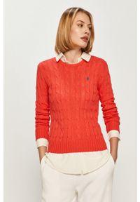 Pomarańczowy sweter Polo Ralph Lauren casualowy, gładki