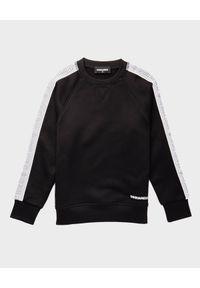 DSQUARED2 KIDS - Czarna bluza 4-16 lat. Okazja: na co dzień. Kolor: czarny. Długość rękawa: długi rękaw. Długość: długie. Wzór: nadruk. Sezon: lato. Styl: sportowy, casual