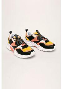 Pomarańczowe buty sportowe TOMMY HILFIGER z cholewką, na sznurówki, z okrągłym noskiem