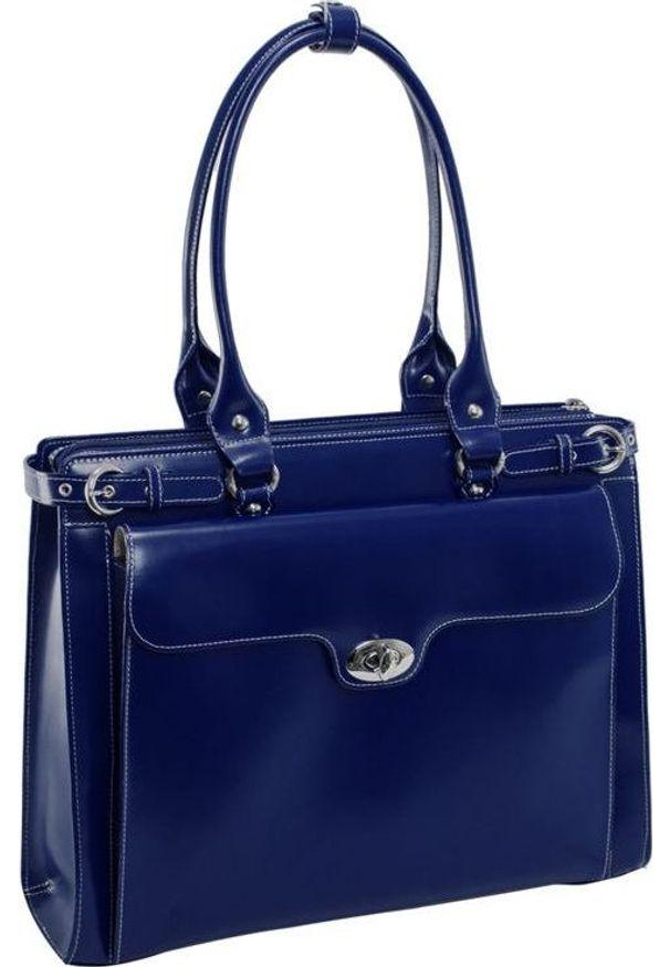 Torba MCKLEIN Skórzana torba damska na laptopa 15,4 granatowa Mcklein Winnetka 94837. Kolor: niebieski. Materiał: skóra