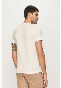 Biały t-shirt Premium by Jack&Jones z nadrukiem, casualowy, na co dzień