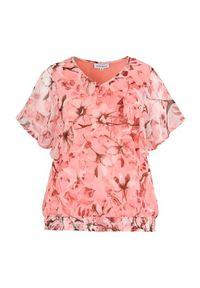 Pomarańczowa bluzka Zhenzi na wiosnę, w kwiaty, z dekoltem w serek