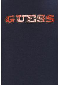Niebieska koszulka z długim rękawem Guess z nadrukiem