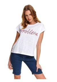 DRYWASH - T-shirt damski w nadrukowanym napisem. Okazja: na co dzień. Kolor: biały. Materiał: jeans, bawełna. Długość rękawa: krótki rękaw. Długość: krótkie. Wzór: napisy. Sezon: wiosna, lato. Styl: casual
