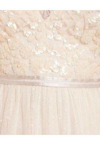NEEDLE & THREAD - Sukienka midi Aurelia. Kolor: beżowy. Materiał: szyfon, tiul, satyna. Typ sukienki: rozkloszowane. Długość: midi