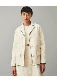 Tory Burch - TORY BURCH - Kremowy tweedowy żakiet. Kolor: biały. Materiał: materiał. Długość rękawa: długi rękaw. Długość: długie