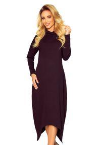 Czarna sukienka Numoco z kapturem, maxi