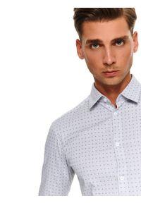 Szara koszula TOP SECRET na co dzień, długa, w kolorowe wzory, z krótkim rękawem