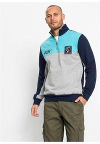 Bluza z zamkiem bonprix jasnoszary melanż - morski - ciemnoniebieski. Typ kołnierza: kołnierzyk stójkowy. Kolor: szary. Wzór: melanż #3