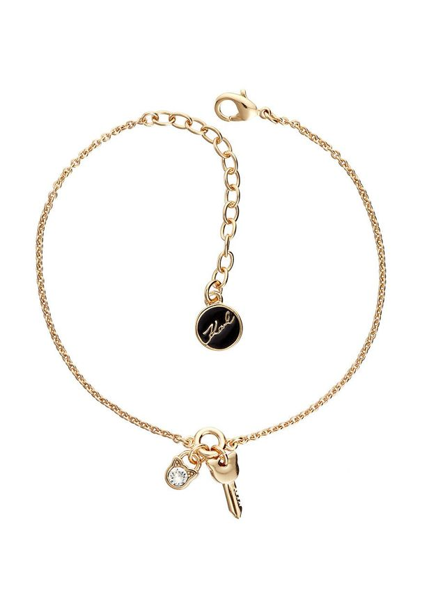 Złota bransoletka Karl Lagerfeld z mosiądzu, z kryształem