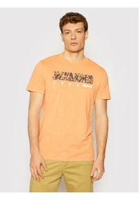 Jack & Jones - Jack&Jones T-Shirt Lefo 12186282 Pomarańczowy Regular Fit. Kolor: pomarańczowy