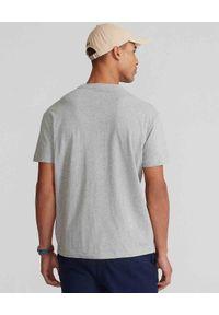 Ralph Lauren - RALPH LAUREN - Szara koszulka z misiem Polo. Typ kołnierza: polo. Kolor: szary. Materiał: bawełna, jeans. Wzór: nadruk, aplikacja, kolorowy
