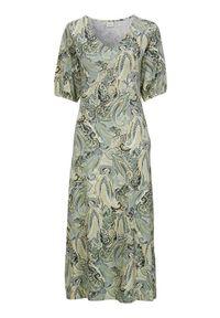 Cream Sukienka we wzory Lulla zamglona zieleń we wzory female zielony/ze wzorem L (40/42). Typ kołnierza: dekolt w serek. Kolor: zielony. Materiał: wiskoza, włókno, jersey. Długość rękawa: krótki rękaw