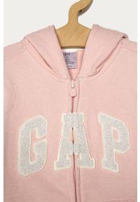 Różowa bluza rozpinana GAP z kapturem, z aplikacjami