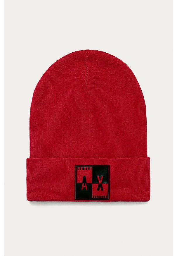 Czerwona czapka Armani Exchange z aplikacjami