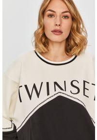 Czarna bluza TwinSet długa, bez kaptura, z długim rękawem, z nadrukiem