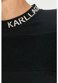 Czarny sweter Karl Lagerfeld z długim rękawem, długi