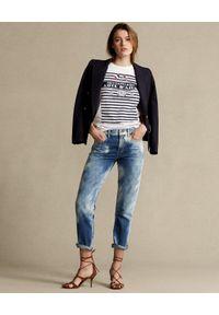Ralph Lauren - RALPH LAUREN - Cieniowane spodnie Boyfriend. Kolor: niebieski. Materiał: bawełna