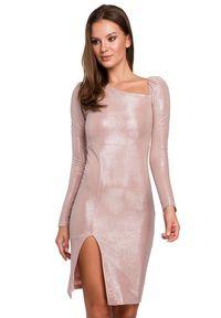 Makover - Zjawiskowa dopasowana połyskująca sukienka. Okazja: na imprezę. Długość rękawa: długi rękaw. Typ sukienki: ołówkowe, asymetryczne. Długość: midi