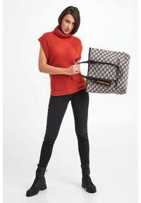 Karl Lagerfeld - TOREBKA KARL LAGERFELD. Wzór: haft, gładki, nadruk. Dodatki: z haftem. Materiał: skórzane