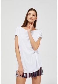 MOODO - Bluzka koszulowa z wiskozy. Typ kołnierza: bez kołnierzyka. Materiał: wiskoza. Długość rękawa: krótki rękaw. Długość: krótkie. Wzór: gładki