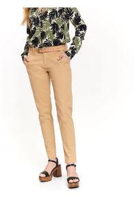 Beżowe spodnie TOP SECRET długie, casualowe, na lato