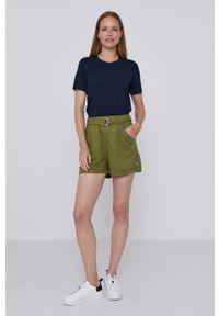 United Colors of Benetton - Szorty. Okazja: na co dzień. Kolor: zielony. Materiał: tkanina. Wzór: gładki. Styl: casual