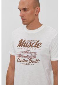 Premium by Jack&Jones - T-shirt. Okazja: na co dzień. Kolor: beżowy. Materiał: bawełna. Wzór: nadruk. Styl: casual