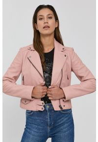 Pinko - Ramoneska skórzana. Kolor: różowy. Materiał: skóra