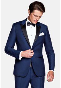Lancerto - Marynarka Navy Smokingowa Lincoln. Kolor: niebieski. Materiał: skóra, wełna, tkanina, lakier, poliester. Wzór: gładki