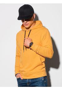 Ombre Clothing - Bluza męska z kapturem B1154 - żółta - XXL. Typ kołnierza: kaptur. Kolor: żółty. Materiał: poliester, bawełna