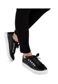 Czarne buty sportowe N/M trekkingowe, w kolorowe wzory