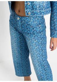 """Dżinsy culotte w kwiaty bonprix niebieski """"stone"""" w roślinny wzór. Kolor: niebieski. Wzór: kwiaty. Styl: elegancki"""