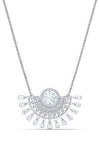 Srebrny naszyjnik Swarovski z kryształem, z aplikacjami, metalowy